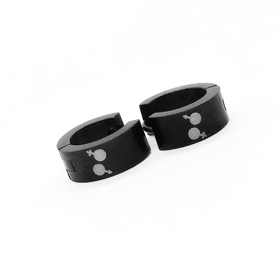 Identity Black Stainless Steel Huggie Hoop Earrings