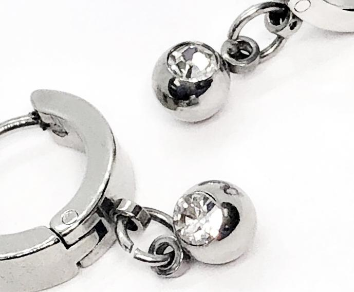 Dangling CZ Bead Stainless Steel Huggie Hoop Earrings