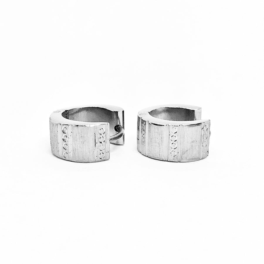 Wide Etched Stainless Steel Huggie Hoop Earrings