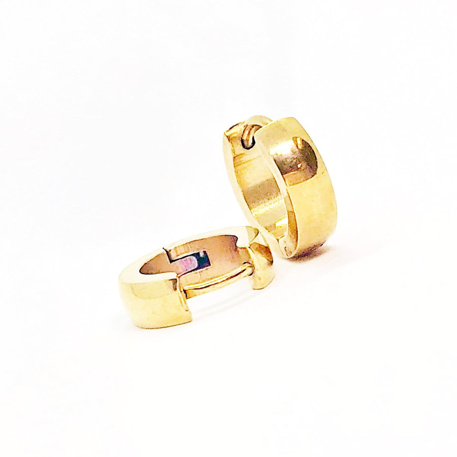 Rounded Gold Stainless Steel Huggie Hoop Earrings - For Men or Women