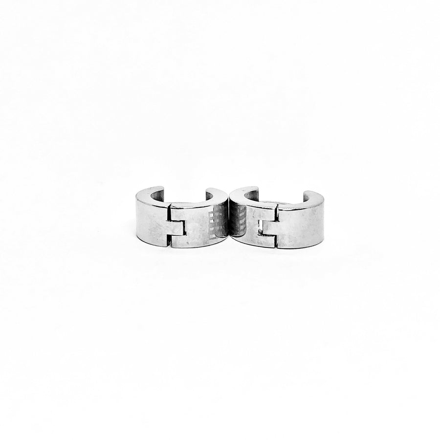 Wide Greek Key Stainless Steel Huggie Hoop Earrings