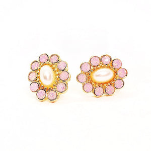 Pearly Pink Flower Stud Earrings