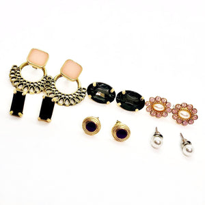 ON SALE - Mix & Match Six Piece Stud Earring Ensemble Black - Pink
