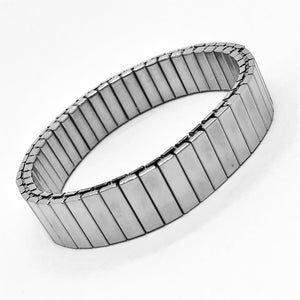 Classic Watch Link Stainless Steel Stretch Bracelet - Two Sizes to Choose