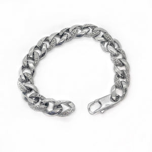 Textured Cuban Curb Link Stainless Steel Bracelet for Men