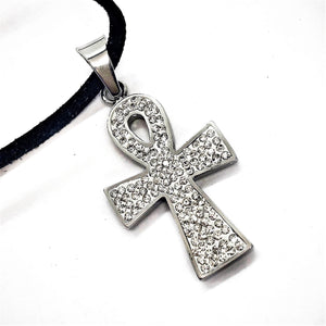 ON SALE - Sparkly Ankh Stainless Steel Necklace
