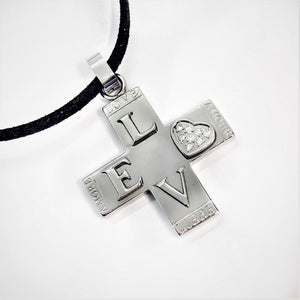 CLEARANCE - L-O-V-E Stainless Steel Cross Necklace