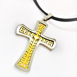 CLEARANCE - CZ Accented Two-Tone Stainless Steel Cross Necklace