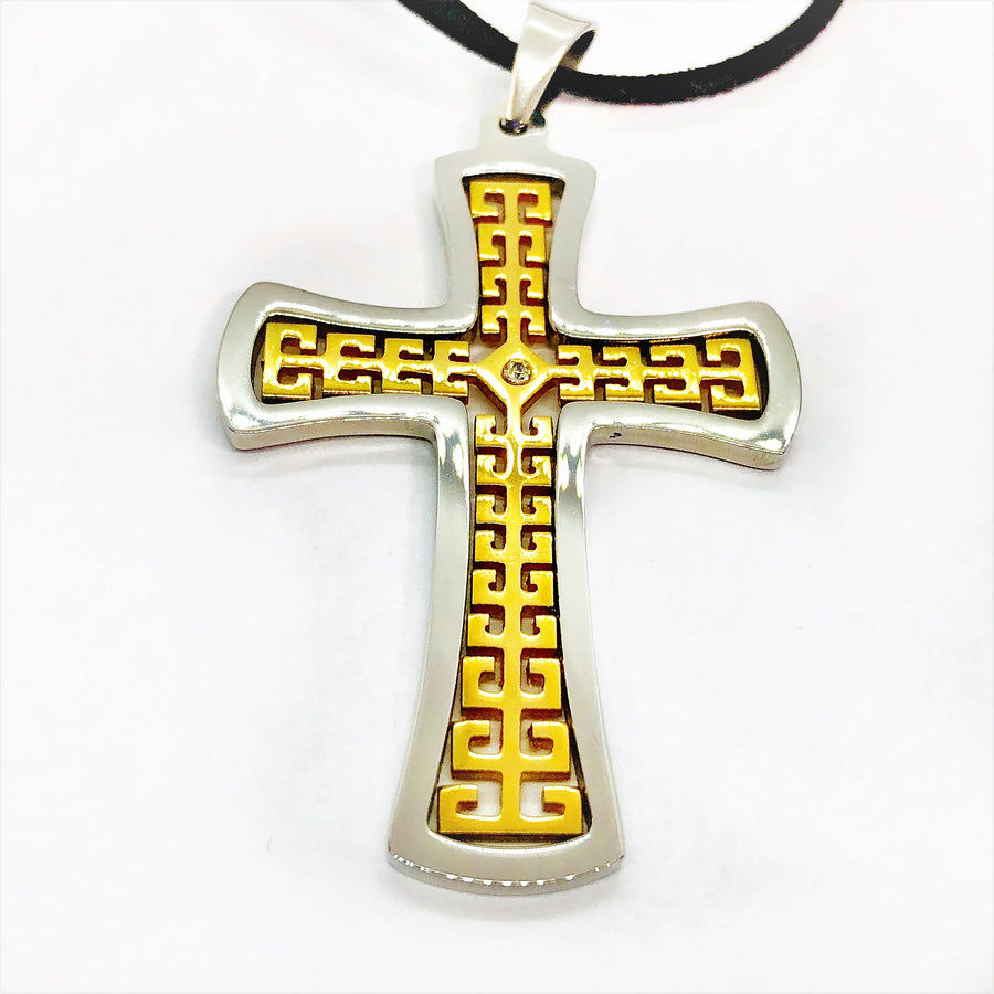 CZ Accented Two-Tone Stainless Steel Cross Necklace