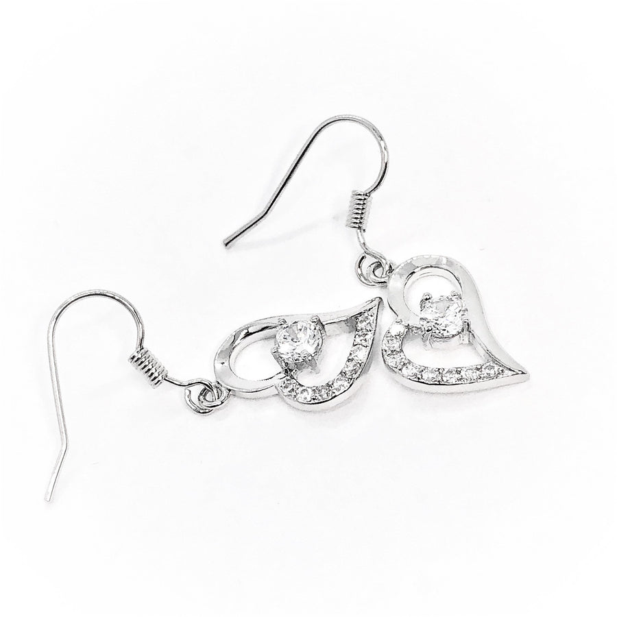 Exaggerated Silver Heart White Zirconia Earrings