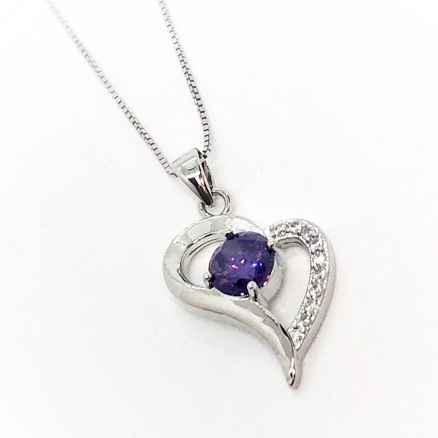 Exaggerated Silver Heart Purple Zirconia Necklace