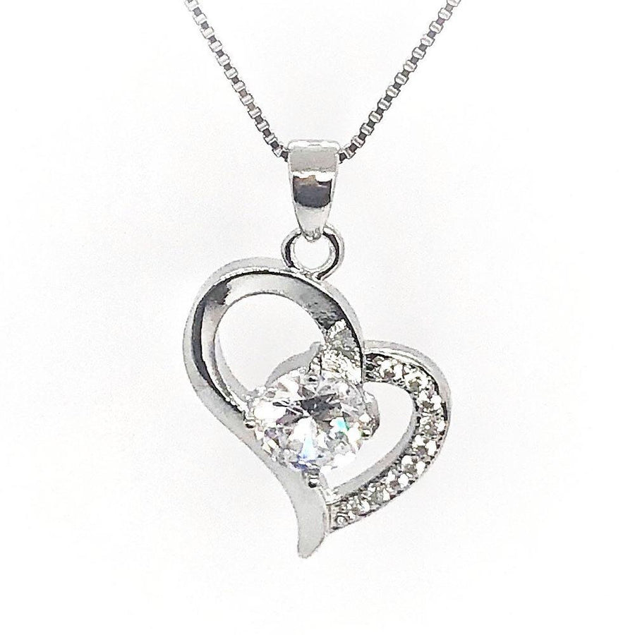 Exaggerated Silver Heart Zirconia Necklace