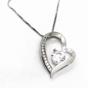 Floating Silver Heart Zirconia Necklace