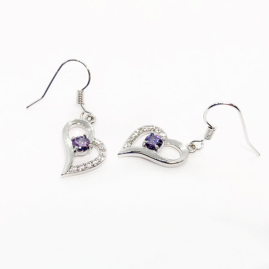 Exaggerated Silver Heart Purple Zirconia Earrings