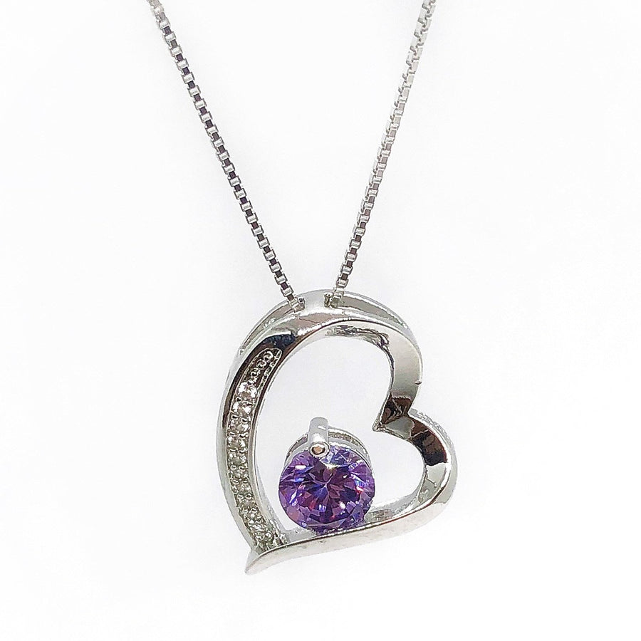 Floating Silver Heart Purple Zirconia Necklace