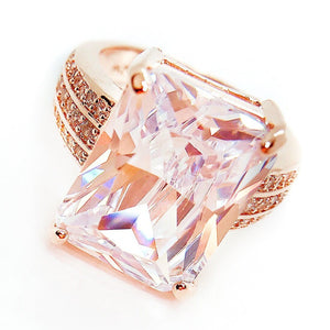 ON SALE - Fire Radiant Emerald Cut Zirconia Rose Gold Cocktail Ring