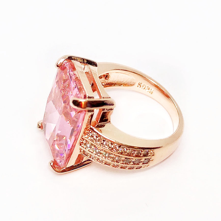 ON SALE - Blush Radiant Emerald Cut Zirconia Rose Gold Cocktail Ring