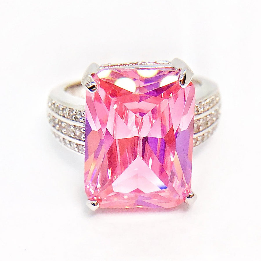 ON SALE - Blush Radiant Emerald Cut Zirconia White Gold Cocktail Ring