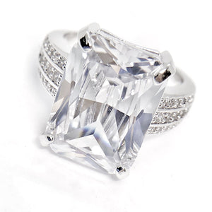 ON SALE - Fire Radiant Emerald Cut Zirconia White Gold Cocktail Ring