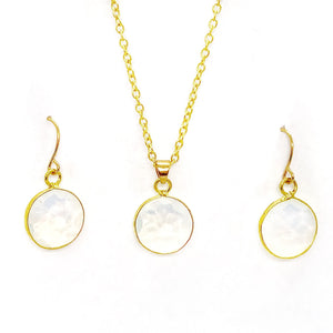 Moonstone Pearlescent Earrings and Necklace Set
