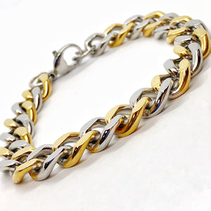 Two Tone Flat Cuban Link Stainless Steel Men's Bracelet