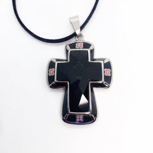 Black and Pink Floral Stainless Steel & Crystal Cross Necklace