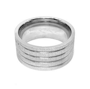 Brushed Lines Wide Stainless Steel Men's Band