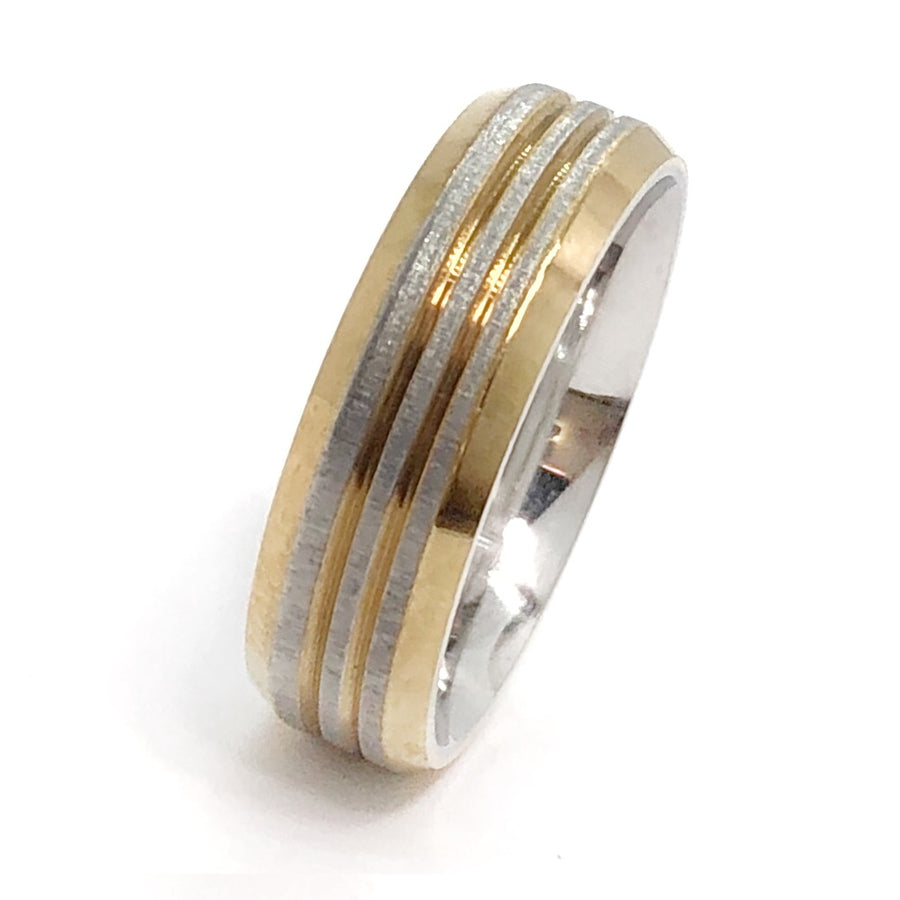 Contemporary Two Tone Stainless Steel Men's Band
