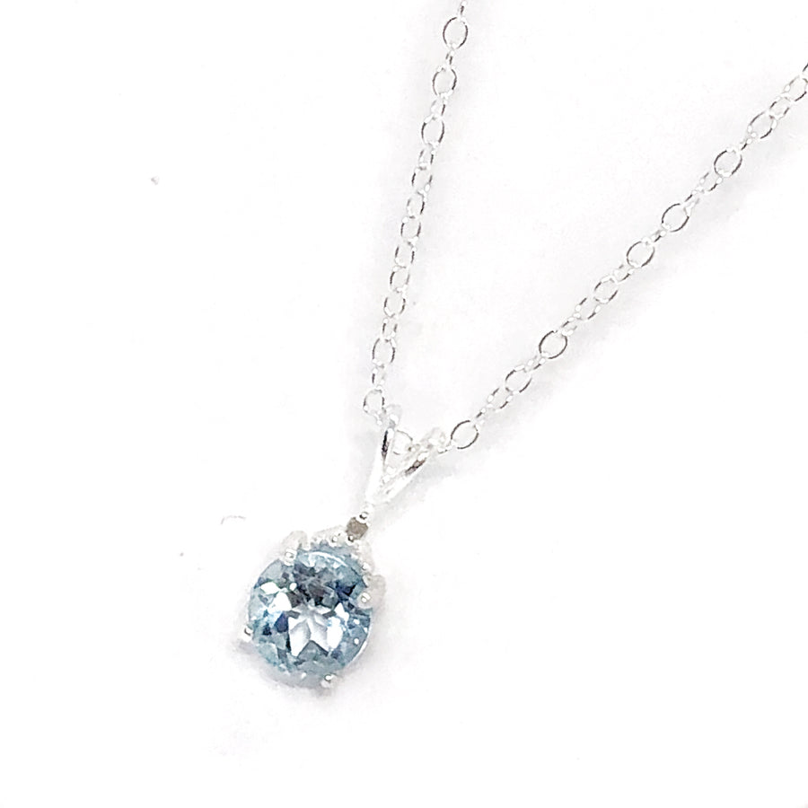 Genuine Blue Topaz & Natural Diamond Accented IOBI Precious Gems Necklace