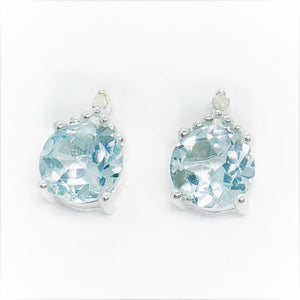 Genuine Blue Topaz & Natural Diamond Accented IOBI Precious Gems Stud Earrings