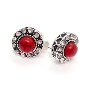 ON SALE - Bohemia Red Turquoise CZ Halo Stud Earrings