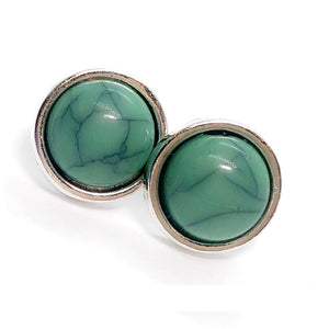 Bohemia Turquoise Round Bezel Stud Earrings For Woman