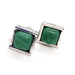 Bohemia Turquoise Square Stud Earrings