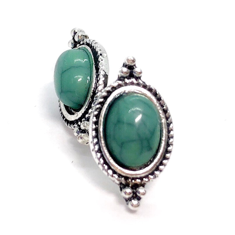 Bohemia Turquoise Oval Framed Stud Earrings