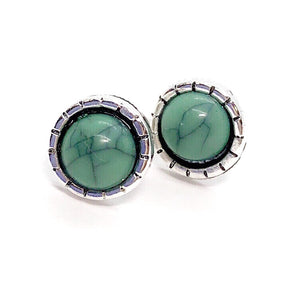 Bohemia Turquoise Round Button Stud Earrings