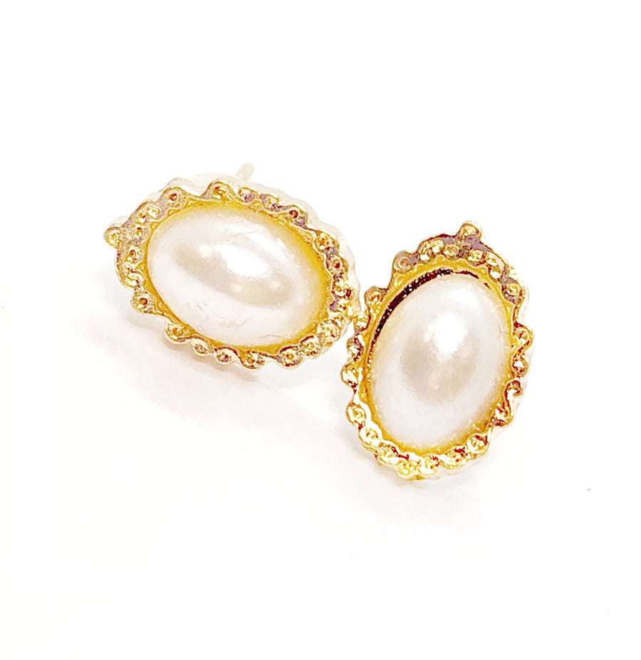 Pearlescence Oval Framed Stud Earrings