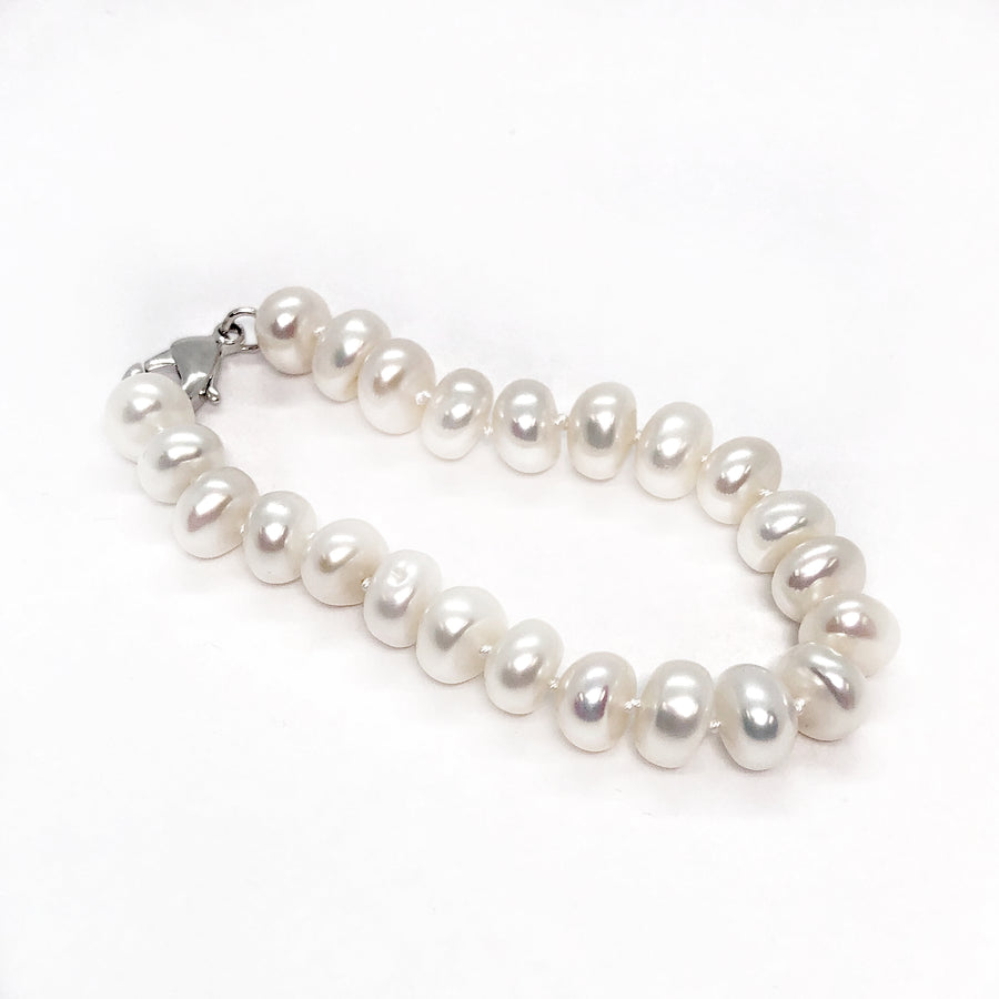 ON SALE - White Genuine Freshwater Button Pearl Bracelet