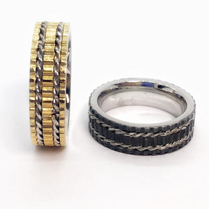 Track Motif Men's Stainless Steel Band in Gold or Black