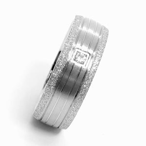 Sandblasted Silver CZ & Stainless Steel Band