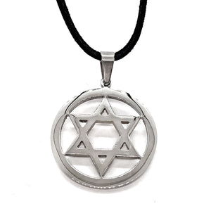Encircled Star of David Stainless Steel Necklace