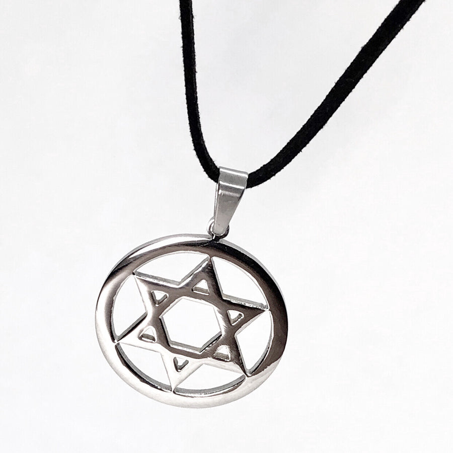 ON SALE - Encircled Star of David Stainless Steel Necklace