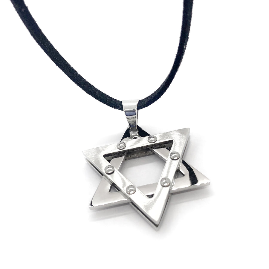 Studded Star of David Stainless Steel Necklace