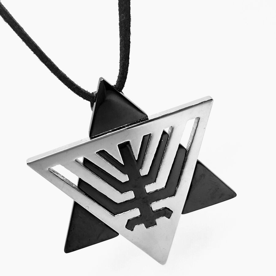 star-of-david-menorah-silhouette-Black-stainless-steel-necklace