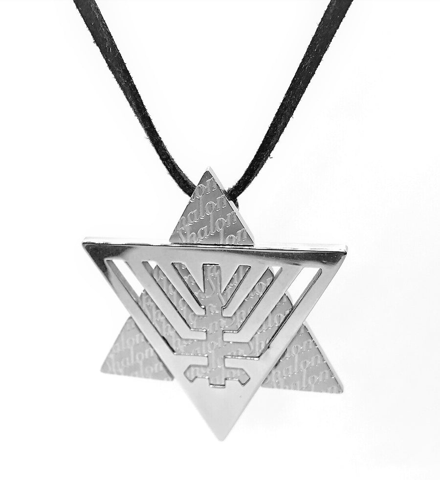embossed-star-of-david-menorah-silhouette-stainless-steel-necklace