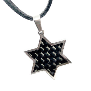 feshionn-iobi-carbon-fiber-inlaid-star-of-david-stainless-steel-necklace