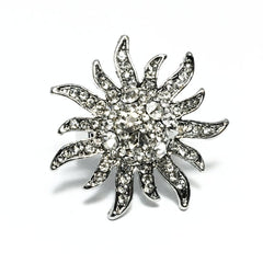 """Diamond Starburst"" Adjustable Stainless Steel Cocktail Ring"