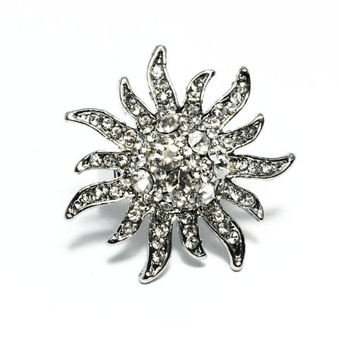 "ON SALE - ""Diamond Starburst"" Adjustable Stainless Steel Cocktail Ring"