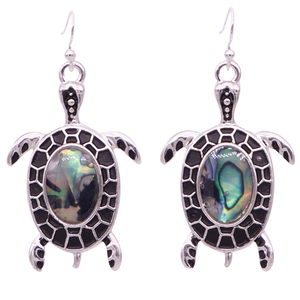 Iridescent Black Enamel Turtle Necklace & Earrings Set