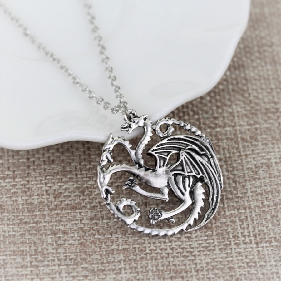 Three Heads Dragon Silver Necklace Pendant