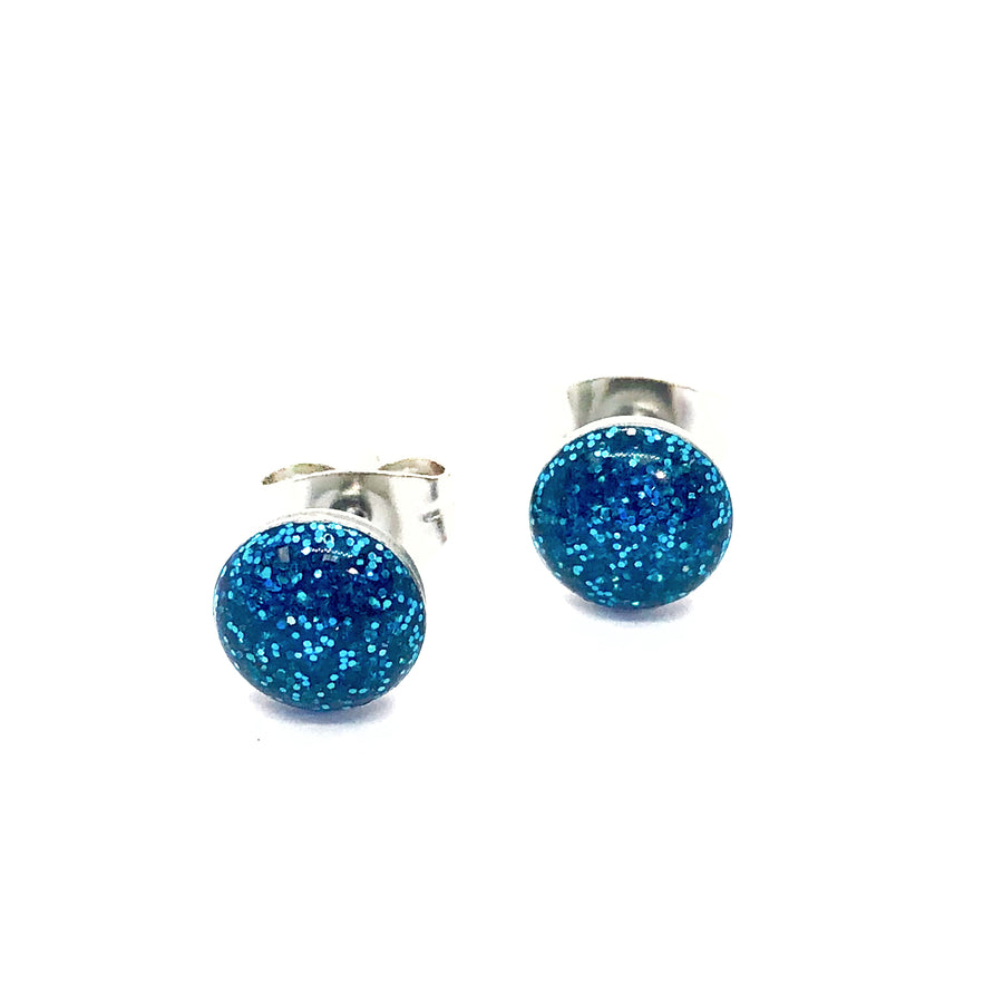 Glittery Blue Stainless Steel Studs